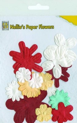 NS: Paper Flowers ca. 18 pcs; Christmas Red
