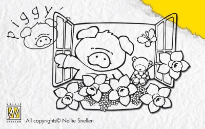NS: Piggy clear stamp; Flowers