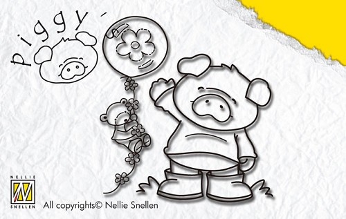 Clear Stamp Piggy- met ballon