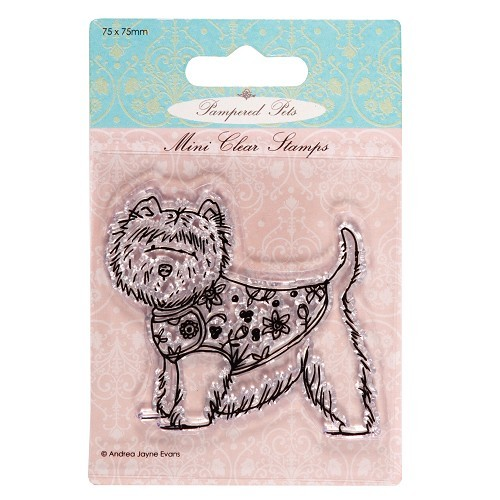 75 x 75mm mini clear stamps - pampered pets (highland terrier)