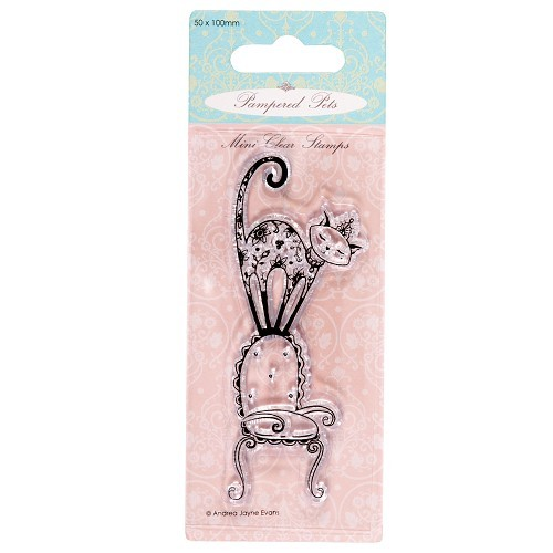 50 x 100mm mini clear stamps - pampered pets (purrfect chair)