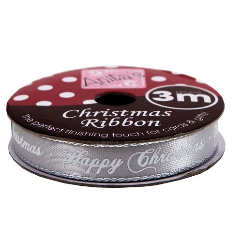 Docrafts: Happy Christmas Ribbon; Silver