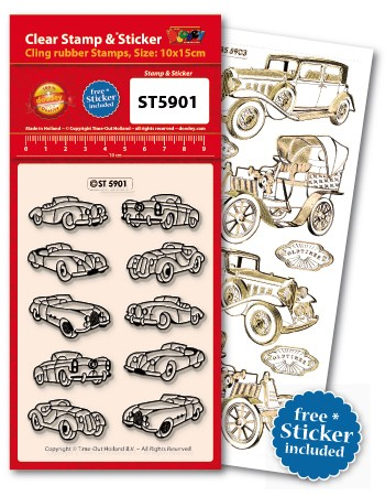 Doodey: Clear Stamp; Old Timer cars