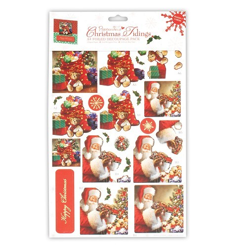 DC: A4 Foiled Decoupage Pack Christmas Tidings 1