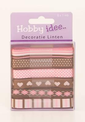 Hobby Idee Decoratie Lint Rose Bruin Tinten Beertje Creatief