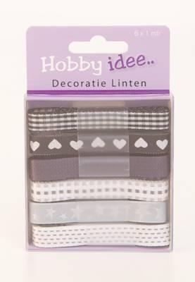 Hobby Idee Decoratie Lint Zwart Wit Tinten Beertje Creatief