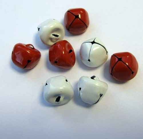 H&C: Christmas Bells; 15 mm - 8 pcs, RED & WHITE