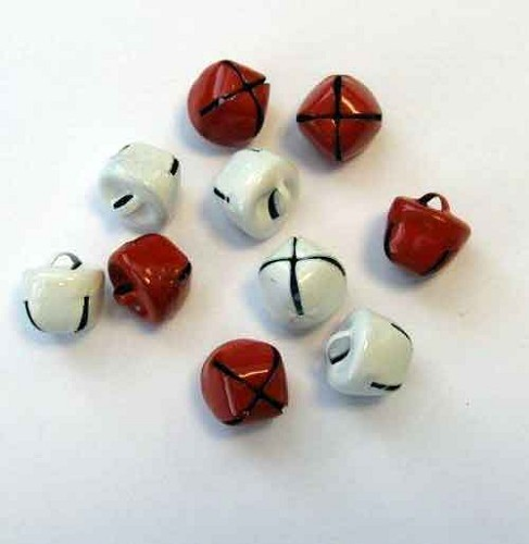H&C: Christmas Bells; 12 mm - 10 pcs, RED & WHITE
