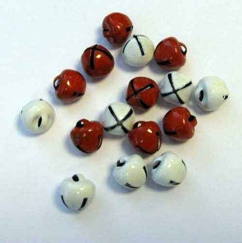 H&C: Christmas Bells; 8 mm - 16 pcs, RED & WHITE