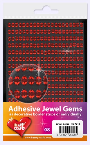 Hearty Craft: Adhesive Jewel Gems; Red Oval 6 x 4 mm