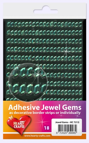 Hearty Craft: Adhesive Jewel Gems; Wave 8 x 4 mm, Green