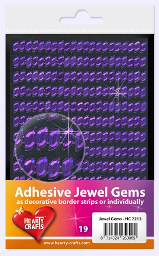 Hearty Craft: Adhesive Jewel Gems; Wave 8 x 4 mm, Purple