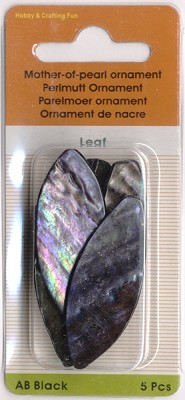 Parelmoer ornament Leaf; black