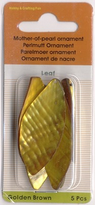 Parelmoer ornament Leaf; golden brown