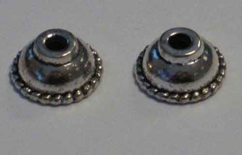 Bead Caps: Zilverkleurig; Nickel free, 10 mm - 8 pcs