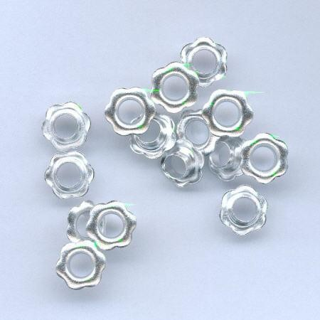 H&C: Eyelets Flower 10 mm; 15 pcs, SILVER