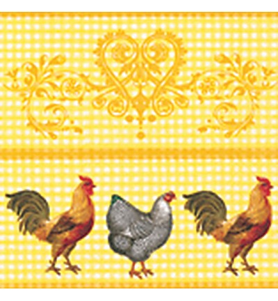 KH: 4 x servet; Rooster in the Yard