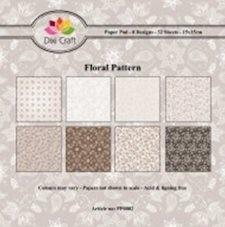Dixi: Paper Pack 15 x 15; Brown floral pattern