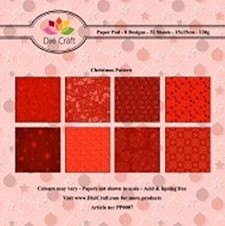 Dixi: Paper Pack 15 x 15; Red Christmasl pattern