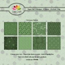 Dixi: Paper Pack 15 x 15; Green Christmasl pattern