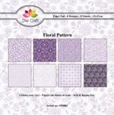 Dixi: Paper Pack 15 x 15; Purple floral pattern