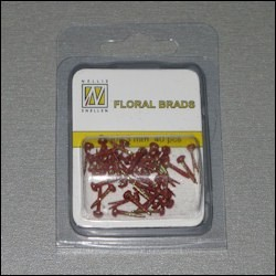 NS: Floral Glitter Brads; Red