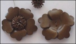Real Leather Flower 1 pcs; BROWN