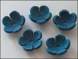 Real Leather Flower 5 pcs; TURQUOISE