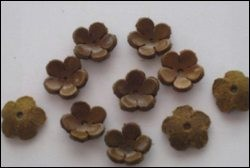 Real Leather Flower 10 pcs; TAN