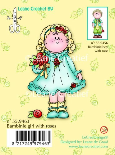 Leane: Clear stamp; Bambinie girl with rose