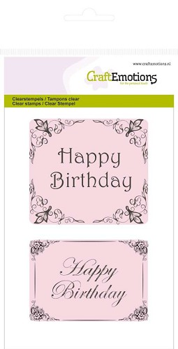 CraftEmotions: Clear Stamp A6; Botanical, Happy Birthday