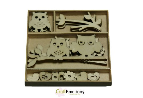CraftEmotions: Houten ornamenten 30 pcs ; Owls