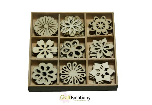 CraftEmotions: Houten ornamenten 45 pcs; Fantasy Flowers