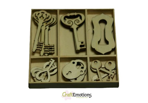 CraftEmotions: Houten ornamenten 30 pcs; Sleutel en slot