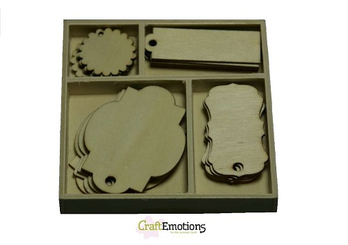CraftEmotions: Houten ornamenten 20 pcs; Labels