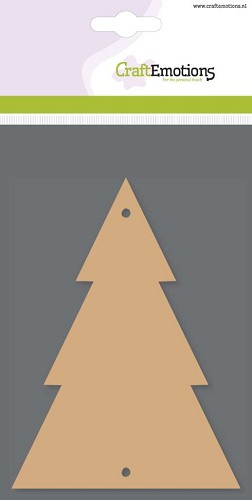 Craft Emotions: MDF Basisvormen; 3 x kerstboom, 10 cm x 13,5 cm x 3 mm