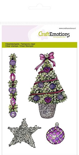 Craft Emotions: Clearstamp A6; Kerstboom-ster Purple Holiday