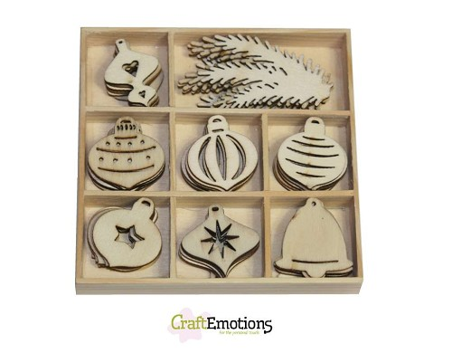 Craft Emotions: Houten ornamenten; Purple Holiday, Kerstballen