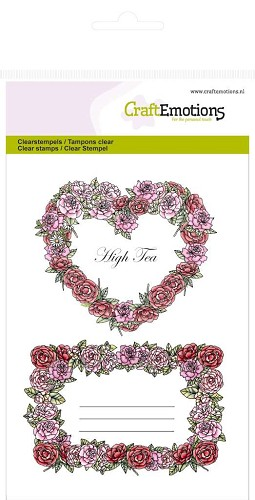 Craft Emotions: Clearstamp A6; High Tea Rose, Rozen labels
