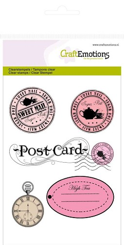 Craft Emotions: Clearstamp A6; High Tea Rose, Stempels en label