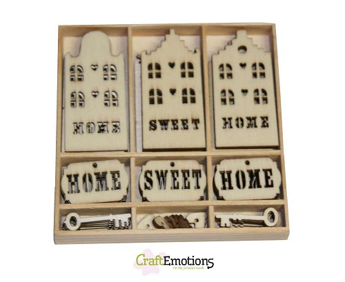 Craft Emotions: Houten ornament; Hone Sweet Home