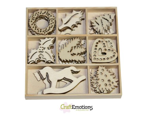 Craft Emotions: Houten ornament; Kerstversiering