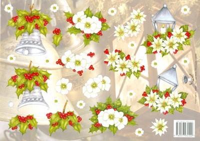 Tierelantijntje Kerstklok Met Hulst En Lantaren Met Witte Bloemen