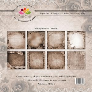 Dixi Paper Pack 15x15 cm Vintage Flowers; BROWN