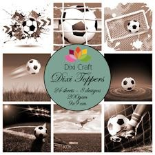 Dixi Mini toppers set 9x9 cm football sepia