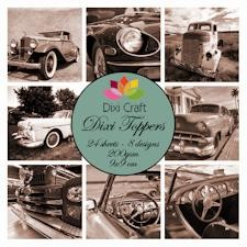 Dixi Mini toppers set 9x9 cm cars sepia