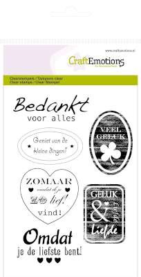 CraftEmotions: Clearstamp A6; tekst labels divers