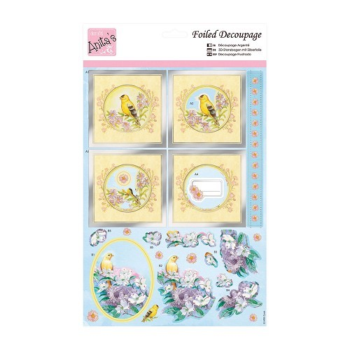 Anita`s foiled decoupge; Yellow Birds