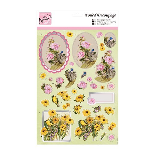 Anita`s foiled decoupge; Flowers and Birds