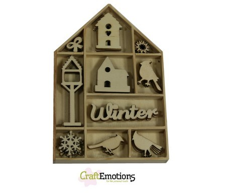 CE: Houten ornament; 50 x Home for Christmas, vogel - vogelhuisje